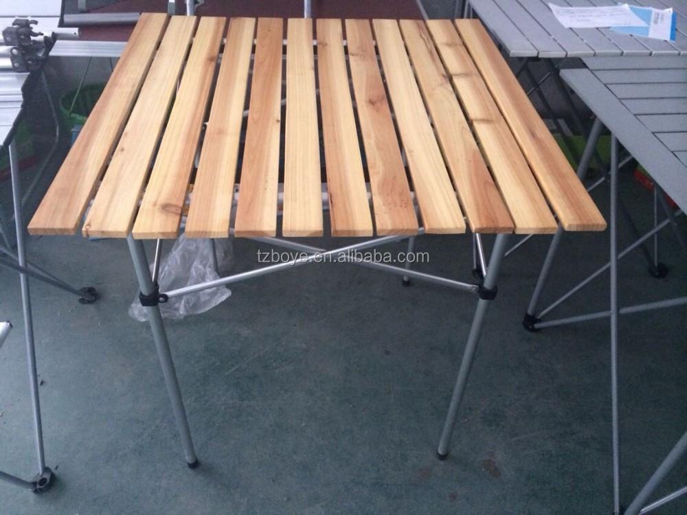 Madera roll up top ajustable mesa plegable peque a mesas for Mesa plegable pequena
