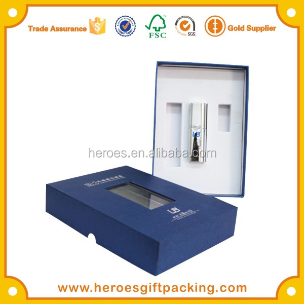 Trade Assurance HG Silver Stamped Logo Blue Color Fancy Paper Textured Paper Box For Car Accessories