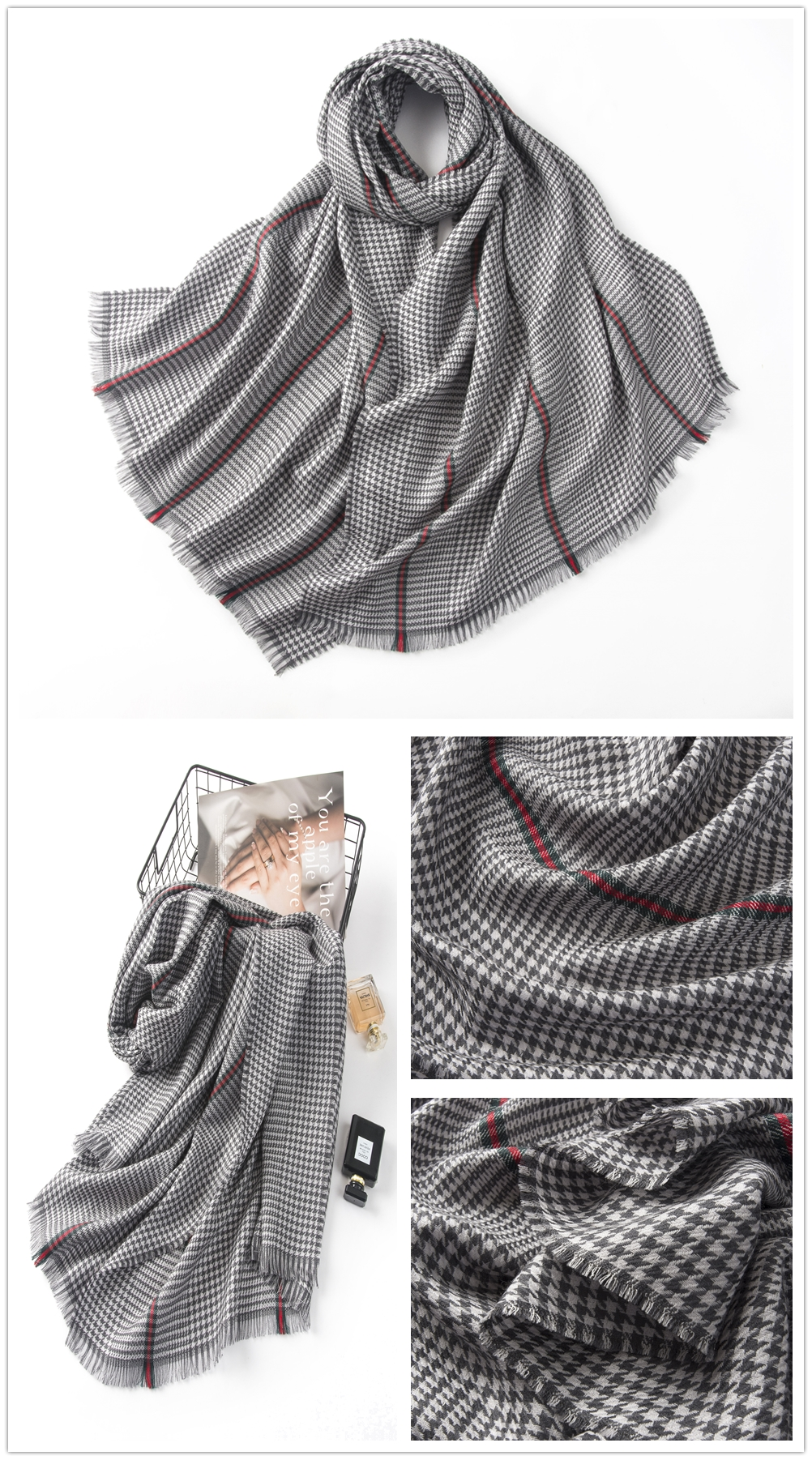 EuropeStyle merino wool houndstooth fashion womens scarf
