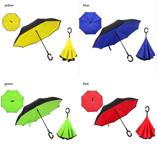Reverse Folding Double Layer Inverted Chuva Umbrella Self Stand Rain Protection C-Hook Hands Umbrella