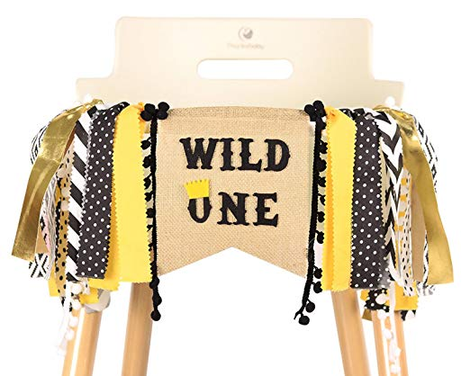 HighChair Banner for 1st Birthday - First Birthday Decorations, Birthday Souvenir and Gifts for Kids, BestParty (Wild One)