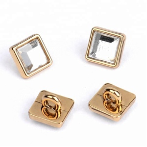 New Fashion Square Sewing Metal Buttons With Crystal