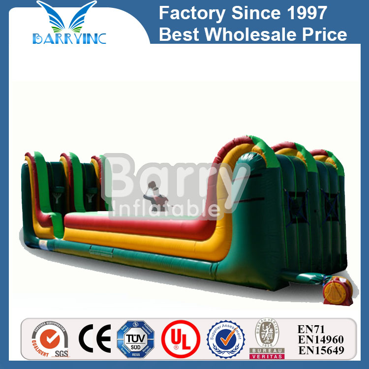 china manufacturer adults and kids inflatable interactive games, inflatable bungee run with joust and basketball hoop