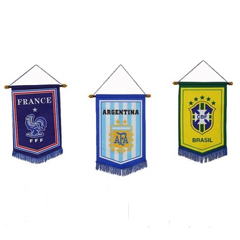 High quality custom square flag stand with satin 20*35cm flag