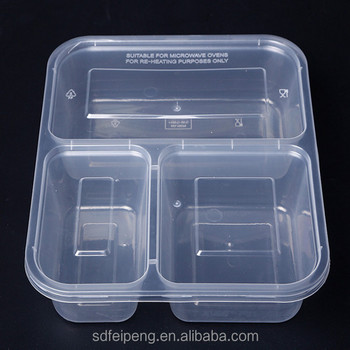 Plastic Food Container 3 Compartment Microwave Safe Black With Lid Divider