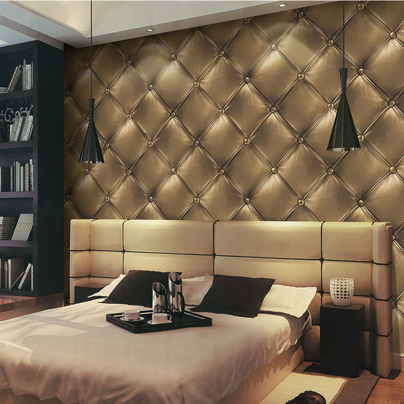Gold Luxury Wallpapers Fashion 3D Faux Leather Soft Wrap