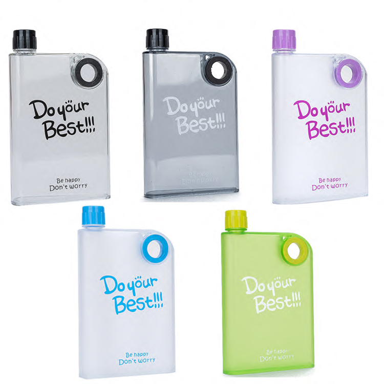 Square AS Plastic Customized 380ml Portable Notebook Shape A5 Memo Flat Creative Plastic Water Bottle