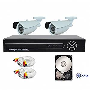 XYZ 4 Channel 1080P AHD Digital Video Recorder and 2 Professional 1080PWeatherproof with pre-installed 1TB HDD