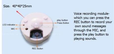 42mm Diameter Round Shape Mini Recorder For Repeat Stuffed Toy