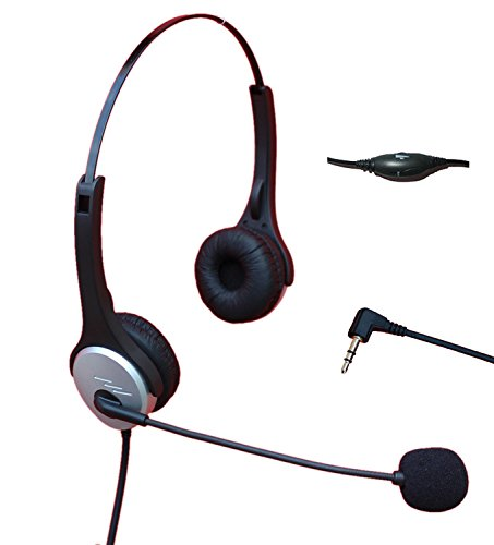 Voistek A2H20D25MM Dual Ear Call Center Telephone Headphone with Noise Canceling Microphone + Volume Mute Controls for Cisco Linksys SPA Polycom Grandstream Panasonic Zultys & Gigaset Office IP & Many Cordless Dect Phones with Standard 2.5mm Headset Jack
