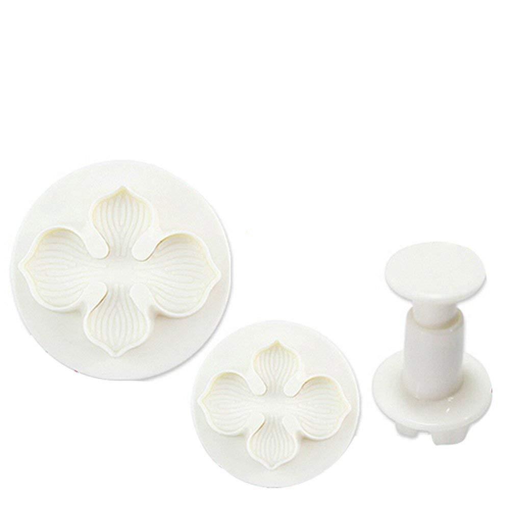 OUNONA 3pcs Fondant Cake Decorating Mold Mould Sugarcraft Plunger Cutter Tools Set
