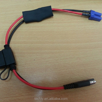 extension sae plug out to red & black with 250 terminal power cable