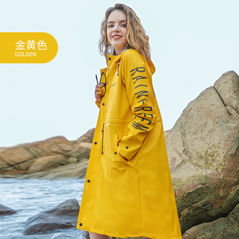 2018 custom design PU long fashion waterproof raincoat rain jacket