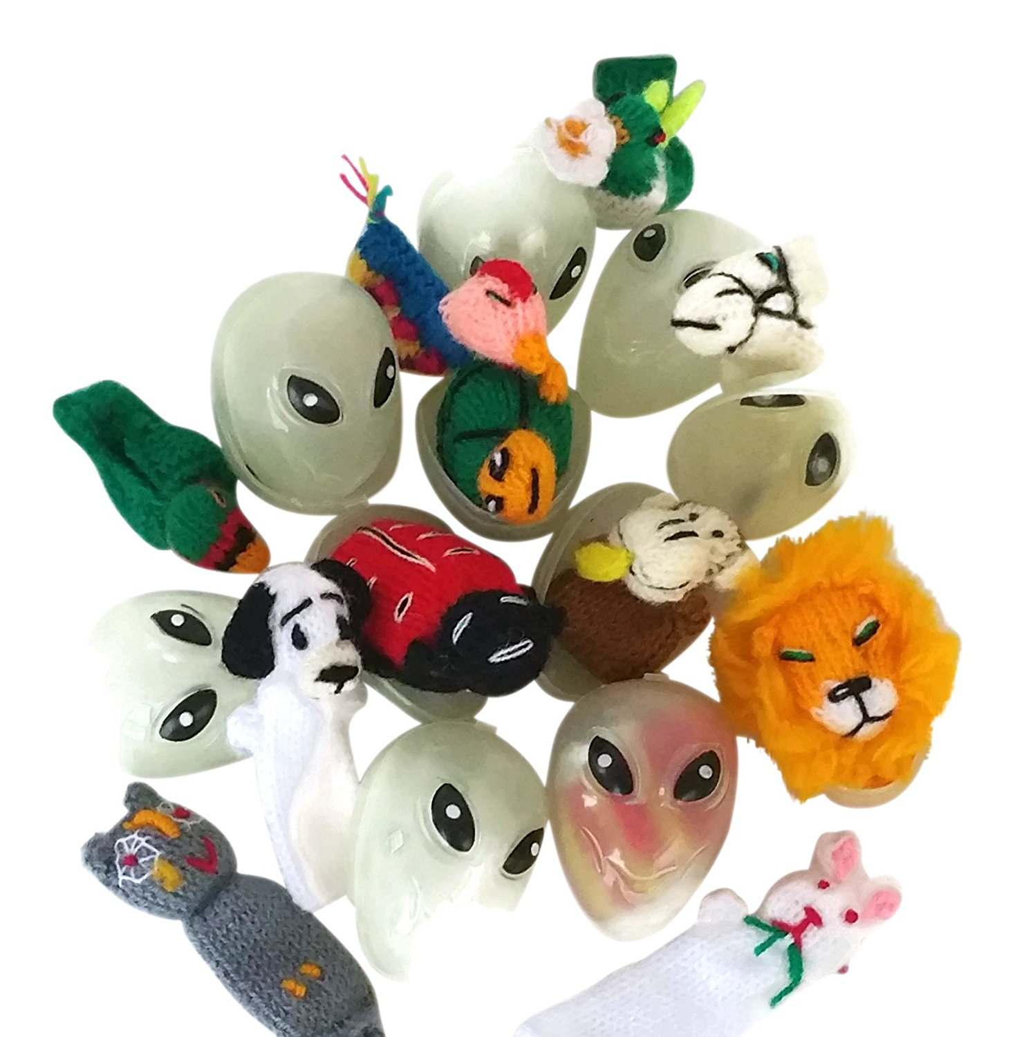 12 Surprise Eggs Finger Puppets Toys Assorted Plastic Eggs in Vintage Box USA