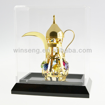 Gold Plated Decorative Mid-east Kettle with Acrylic Box for home decoration