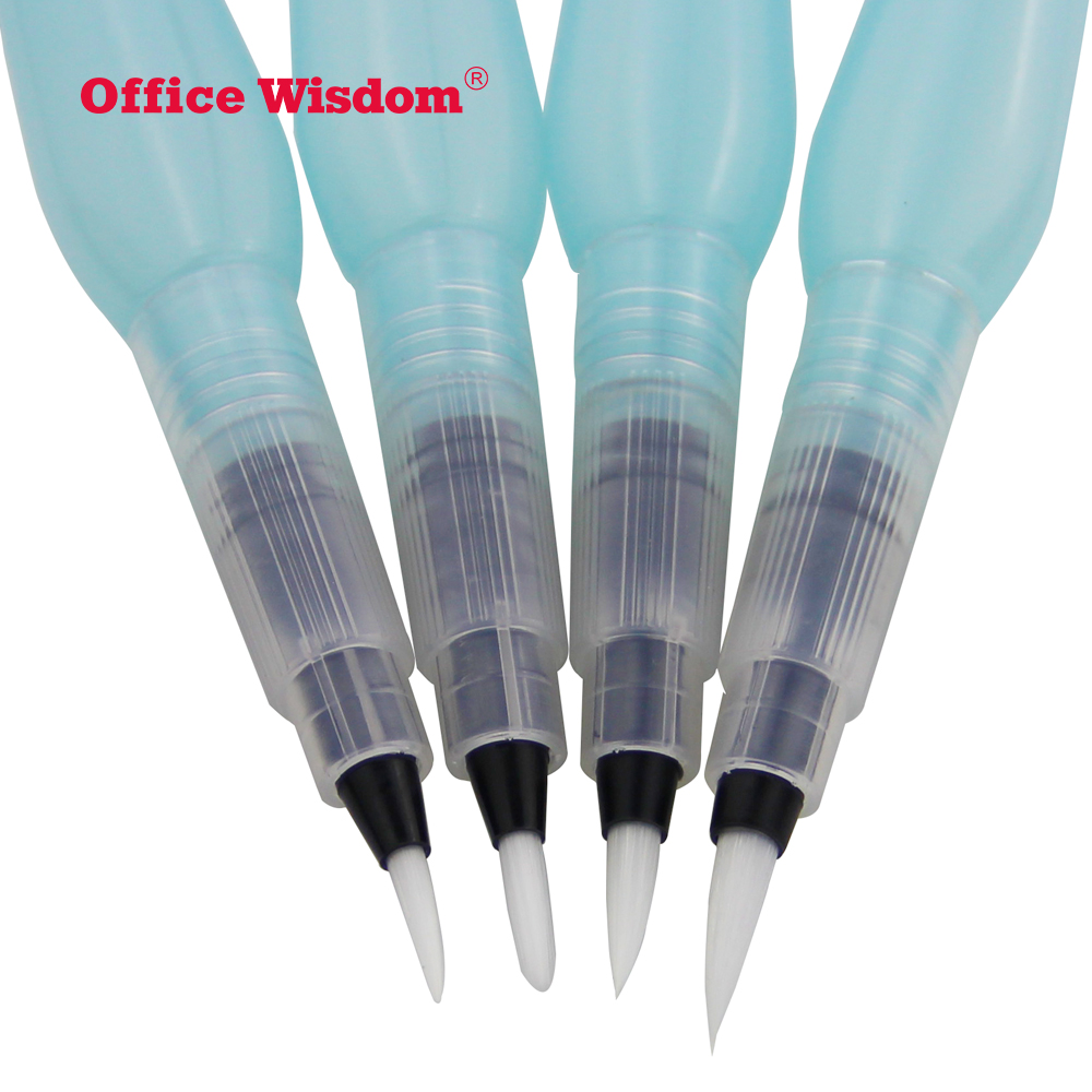 4 pcs plastic handle plastic fountain pen art paint Artist white round tip nylon paint watercolor brush pen set water pen brush