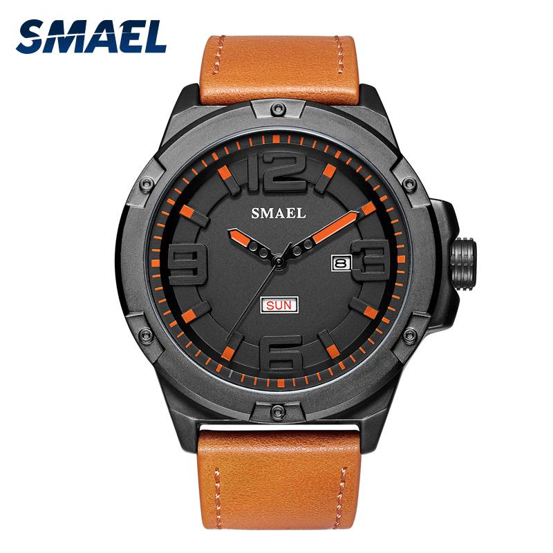 SMAEL factory SL1313 genuine leather bracelet quartz waterproof man wrist watch фото