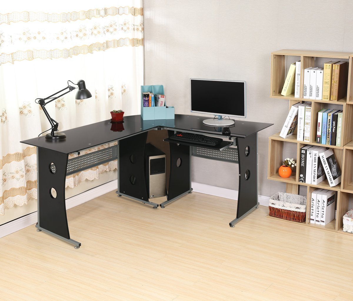 HLC L-shaped Corner Home/Office Workstation Computer Desk with Interchangeable Desktops, Tempered Glass Top and Pull-out Keyboard Shelf