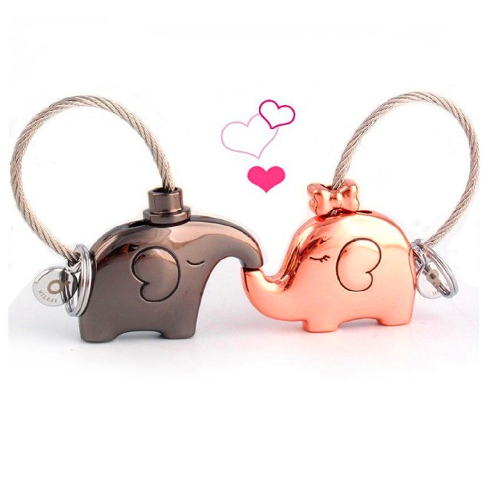 Valentine Gift Bag Purse Sweet Kissing Couple Lover Elephant Shaped Keychain