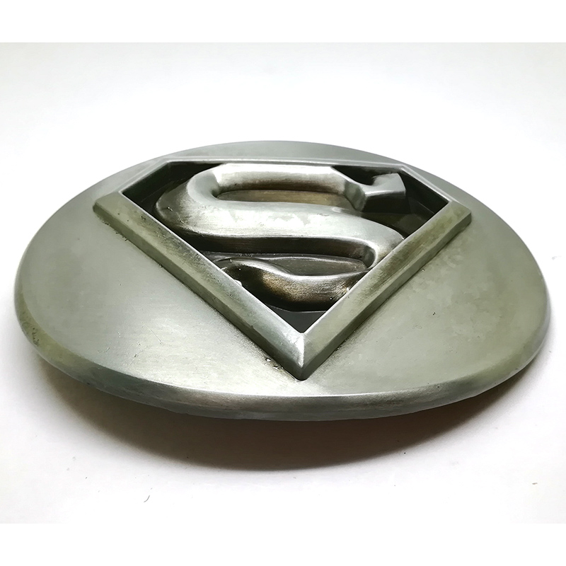 Superman Black//Silver Logo Metal Belt Buckle