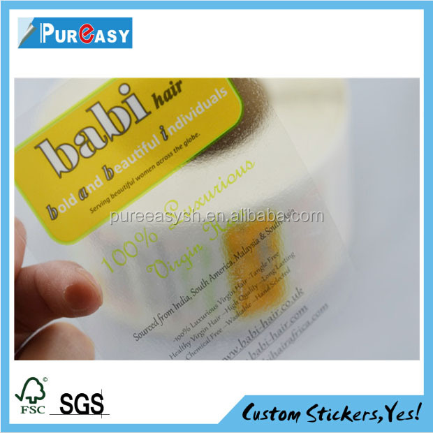 Custom printed waterproof PP glossy laminated clear stickers for high quality transparent label