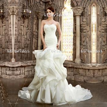 Sexy Cut Wedding Dress Strapless Sleeveless Ruffle Skirt Mermaid Long Tail Dresses