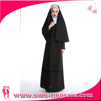 4368a47ae Mulheres de poliéster preto nun irmã vestido longo partido do traje para o  dia das bruxas