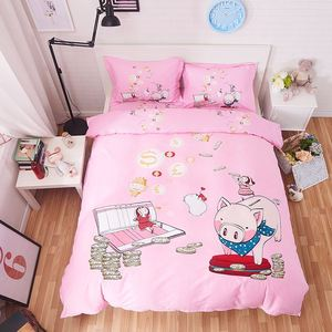 New 4pcs/3pcs 100% Cotton Bedding Set Full Queen Size Bed Sheets Set Totoro Duvet Cover Bedspread Pillowcases Kids Bed Set.