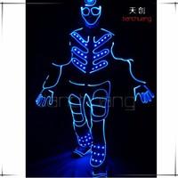 DMX 512 programmable dance led tron dance,team dance led suit,hip pop led costume
