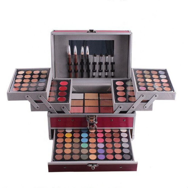 Professional Miss Rose Face Powder Eyeshadow Highlighter Bronzer Palette Blockbuster Portable Makeup Case For Women
