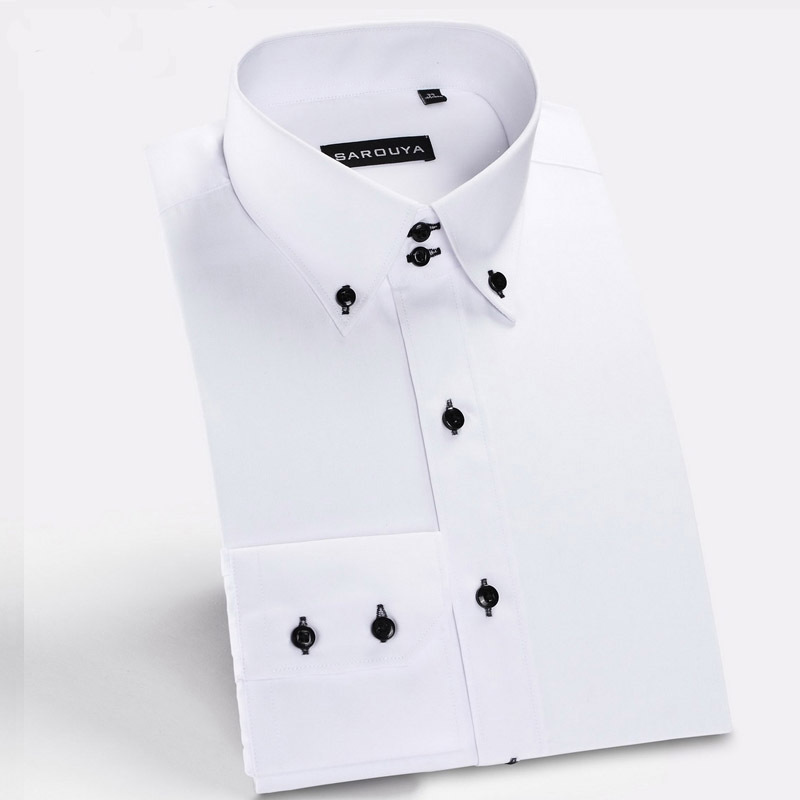 c0d1f88771f Get Quotations · New Arrival 100% cotton white mens shirt 2015 men dress  shirts Peaked collar black button