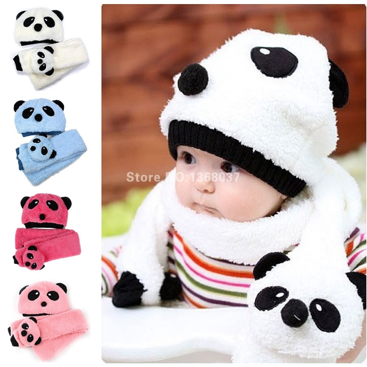 be4305347cc32 Get Quotations · Hot Sale Toddler Infant Unisex Girl Boy Baby Cap Beanie Hat  + Scarf Panda Cartoon two
