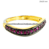 Luxurious Bridal Jewelry Ruby Gemstone Wedding Band Rings