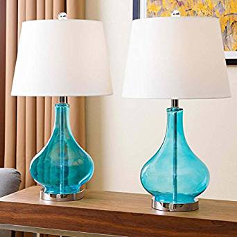 Merveilleux Get Quotations · Table Lamp / Desk Lamp, Contemporary Luciana Turquoise  Glass Table Lamp SP 3087