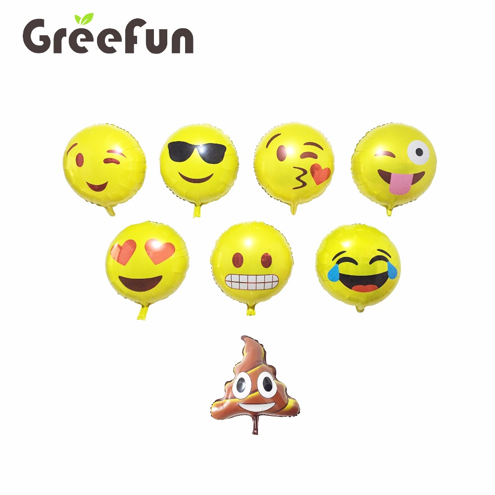 Hot Selling 2018 Whatsapp Emoji Designs Foil Balloon High Quality Custom Designs Cute Emoji Balloon