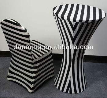 Spandex Striped Bar Table Cover