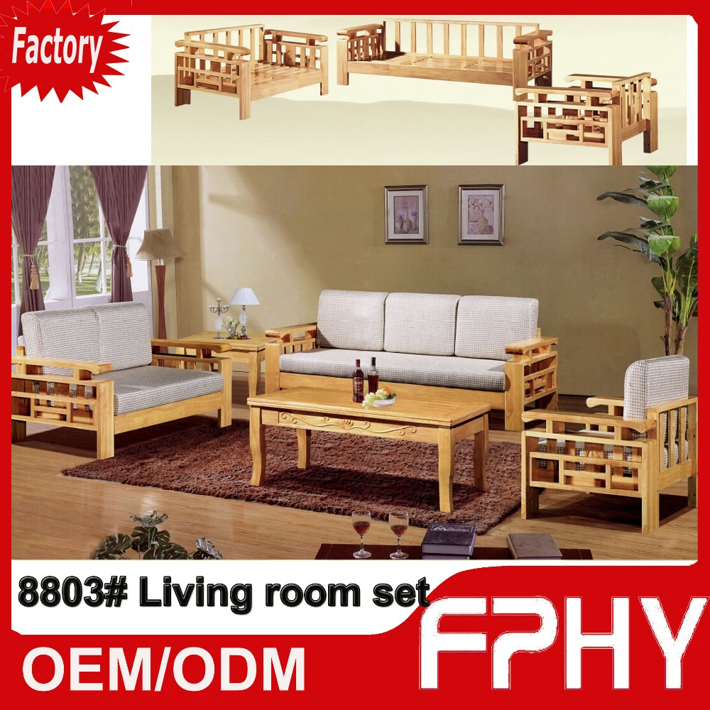 FPHY manufacturer 8803# Oak Solid Wood frame sofa living room furniture set