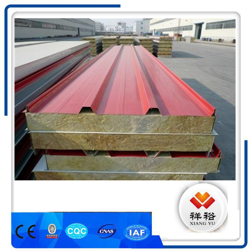 Hot sale Excellent sound insulation sips 500mm rock wool sandwich panel