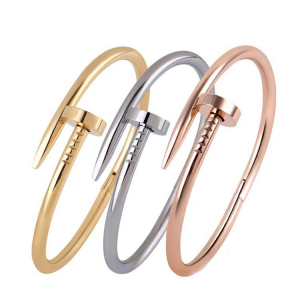 fashion rose gold plated iron nail shape women copper bracelet with crystal