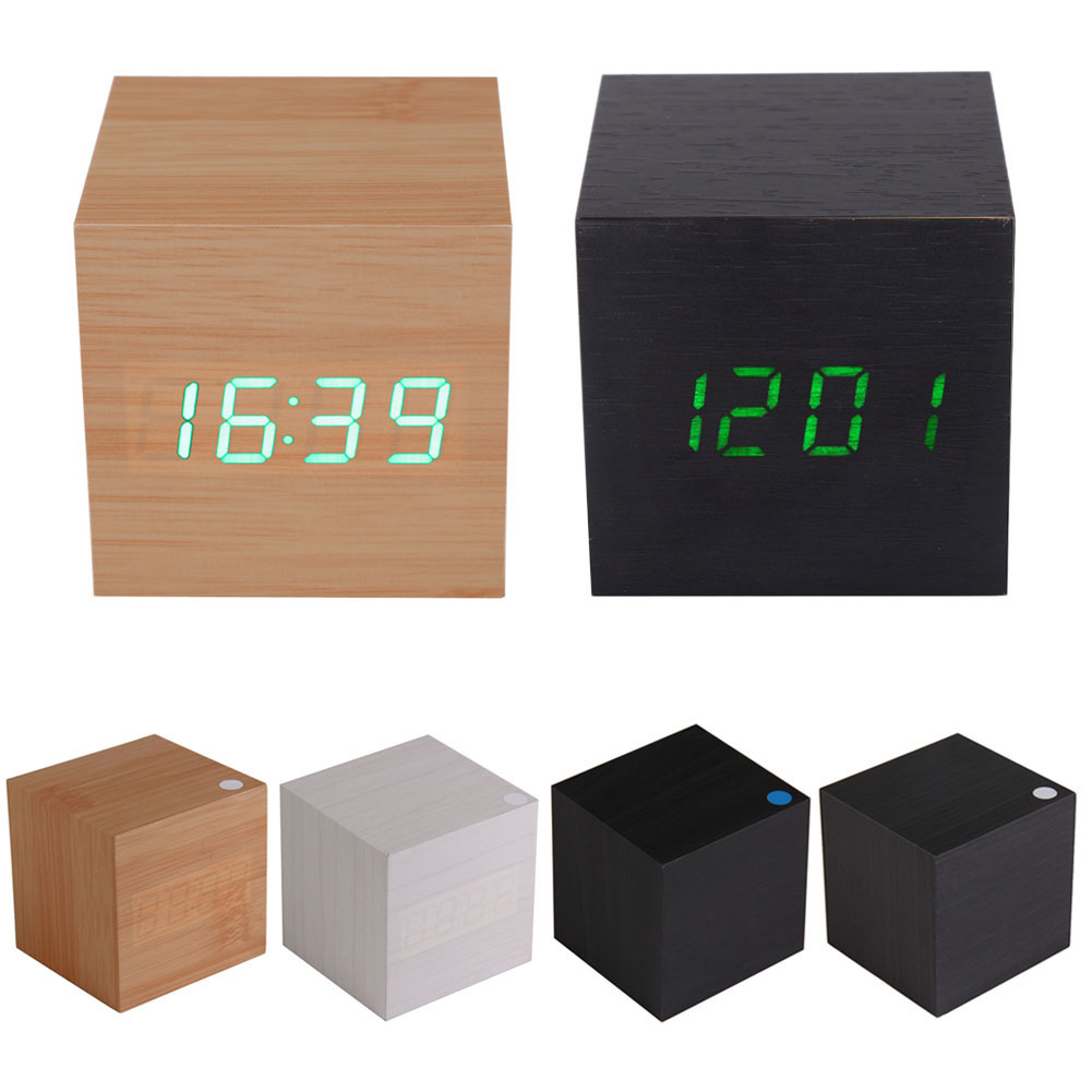This is a multifunctional wooden digital clock. It looks like a nature wood  but it can display date 5ee1b63b04