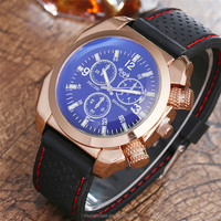 Wholesale Men Silicone Rose Gold Plated Square Military Watch