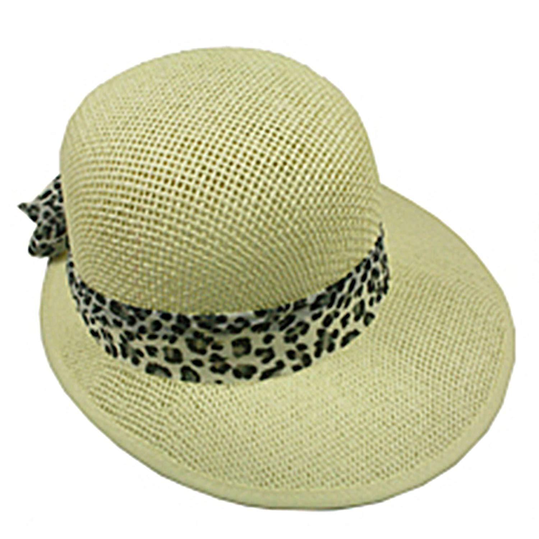 Silver Fever Women Summer Fancy Sun Hat Fits All (Beige with Cheetah)