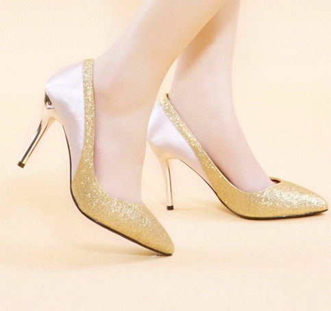 Get Quotations · Single shoes gold wedding shoes spring female married  spring and summer bridal shoes pointed toe paillette aa5ddb569b42