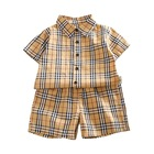 Boutique summer 2 piece shorts plaid shirt kids cotton infant baby clothing set
