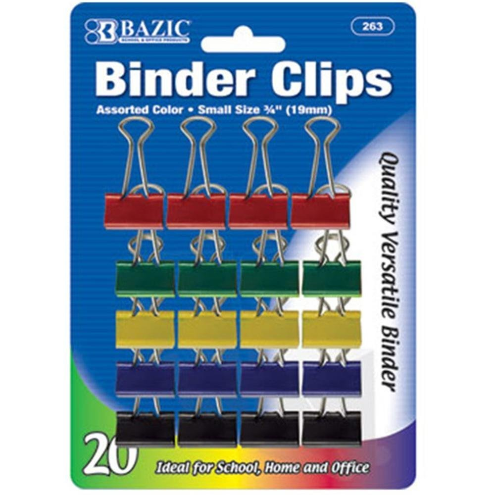 """BAZIC Small 3/4"""" (19mm) Assorted Color Binder Clip (20/Pack), Case Pack of 144"""