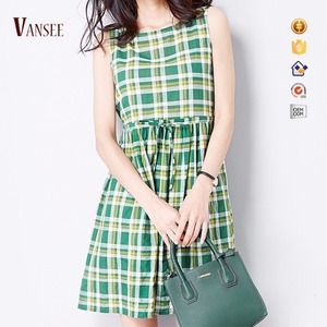 sleeveless tank dress twill pink green plaids dress for student casual girl dresses