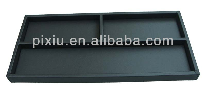 Black PU Leather Wooden Pencil Case
