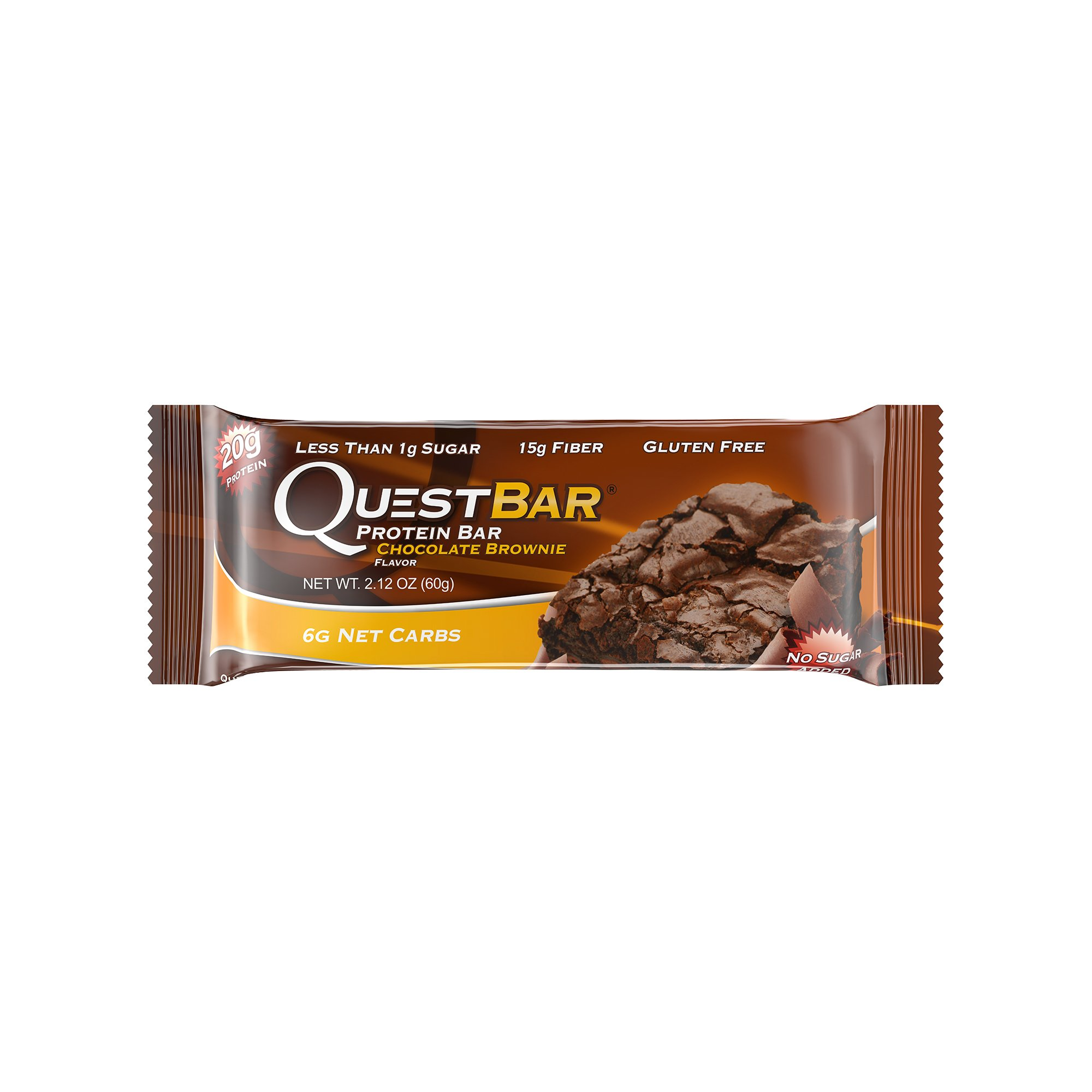 Quest Nutrition Protein Bar, Chocolate Brownie, 20g Protein, 5g Net Carbs, 180 Cals, High Protein Bars, Low Carb Bars,2.1 oz Bar, 12 Count, Packaging May Vary