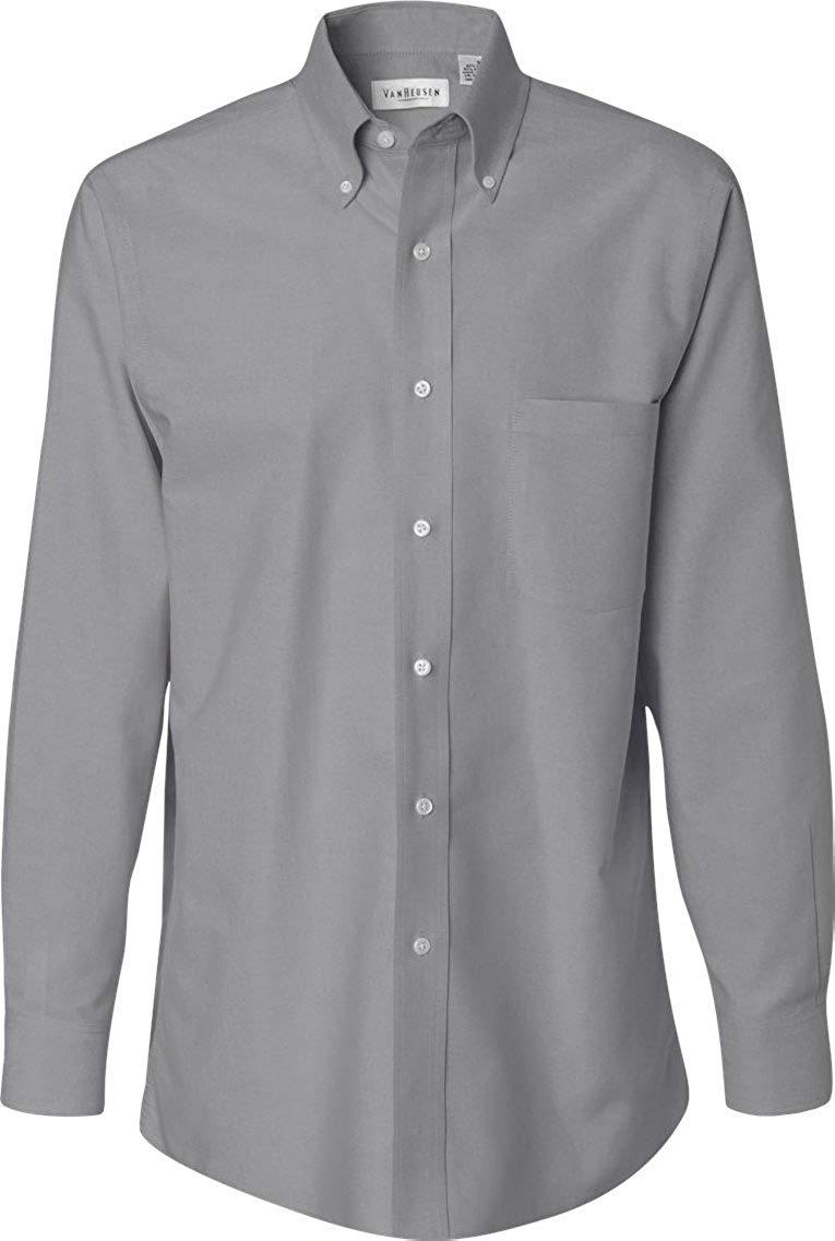 23b9d3cbe25cc Get Quotations · Van Heusen Men s Long Sleeve Wrinkle-Resistant Oxford Button  Down Dress Shirt VH56800