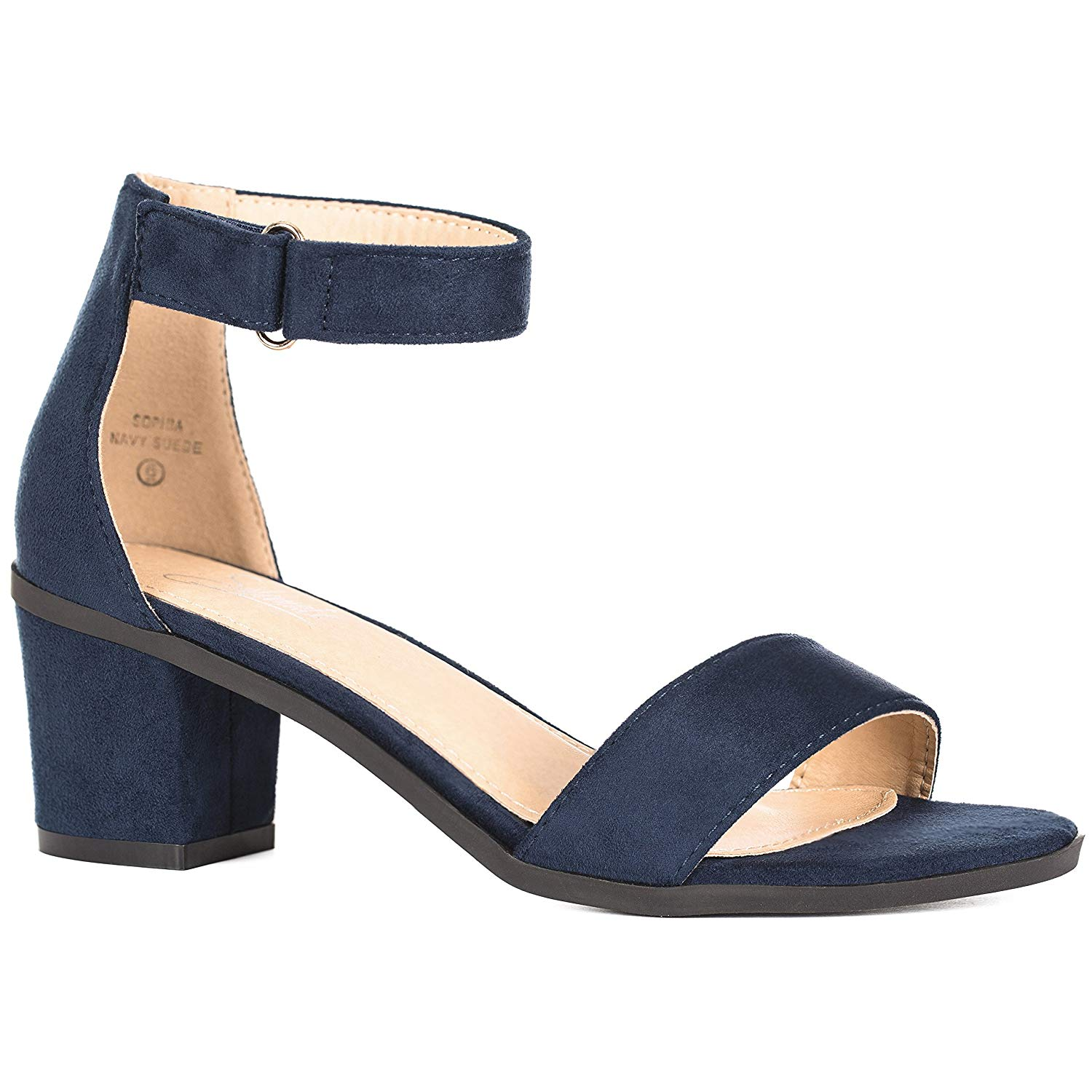 e05dda93581 Get Quotations · Women s Ankle Strap Chunky High Heels – Comfortable Open  Toe Strap Sandal – Evening